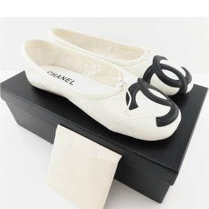 CHANEL CC Logo White Leather Quilt Ballet Flats 37